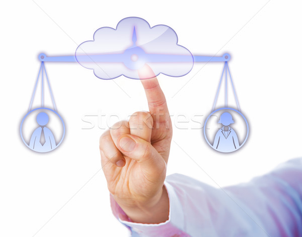 Balancing A Male And A Female Worker In The Cloud Stock photo © leowolfert