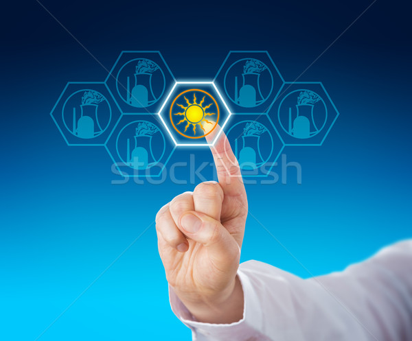 Solar Power Selected Over Nuclear Energy By Touch Stock photo © leowolfert