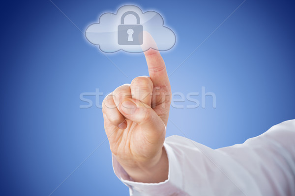 Finger Pushing Lock Button In Cloud Icon Over Blue Stock photo © leowolfert