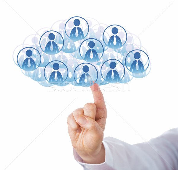 Finger Touching Cloud Of Many Office Worker Icons Stock photo © leowolfert