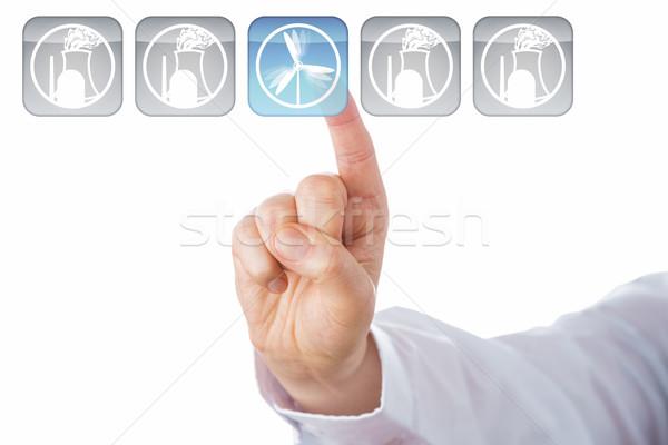 пальца ветер энергии ядерной иконки Сток-фото © leowolfert