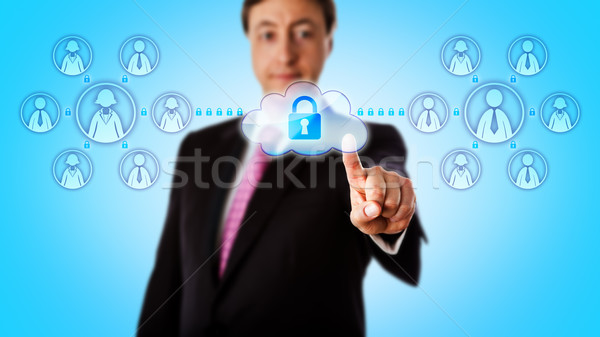Happy Consultant Contacting Teams Via Secure Link Stock photo © leowolfert
