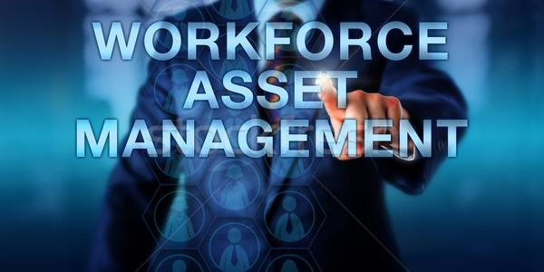 Manager toccare forza lavoro gestione maschio Foto d'archivio © leowolfert