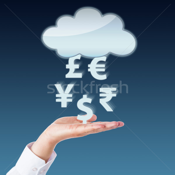 Valuta átutalás felhő nyitva kéz szimbólumok Stock fotó © leowolfert