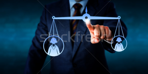 Scaling A Big Versus A Small Female Worker Icon  Stock photo © leowolfert