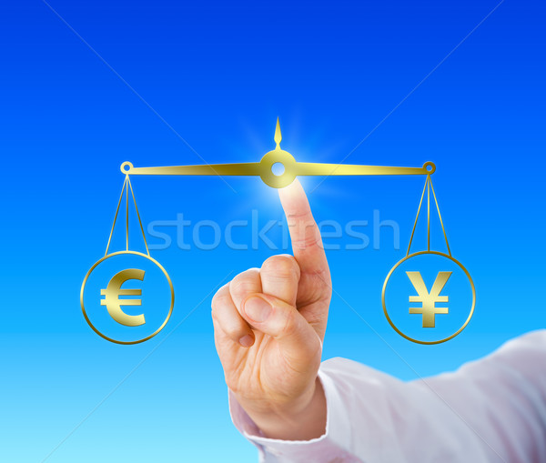 Finger Equating The Euro At Par With The Yen Sign Stock photo © leowolfert