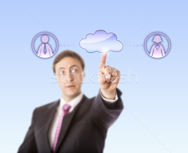 Manager Contacting Female And Male Peer Via Cloud Stock photo © leowolfert