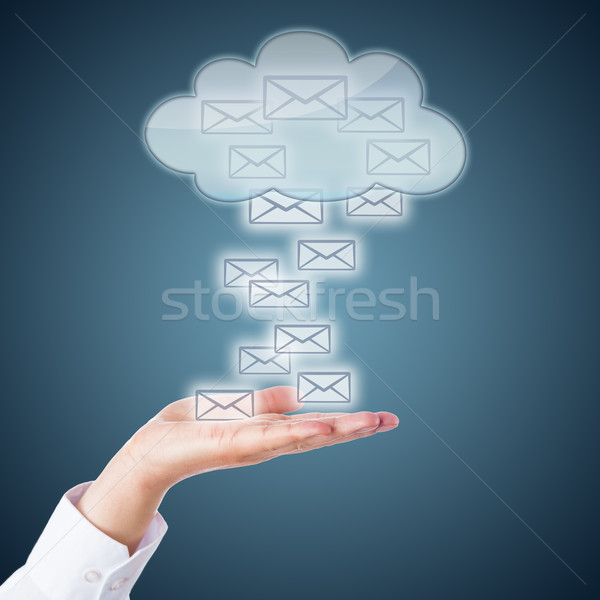 Open Palm Receiving Email Icons From The Cloud Stock photo © leowolfert