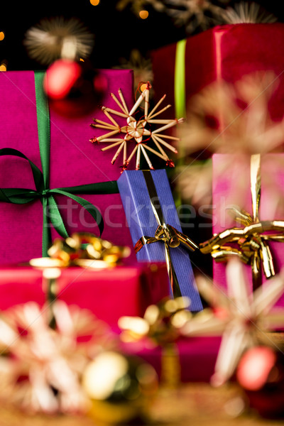 Blu presenti paglia stelle Natale regali Foto d'archivio © leowolfert