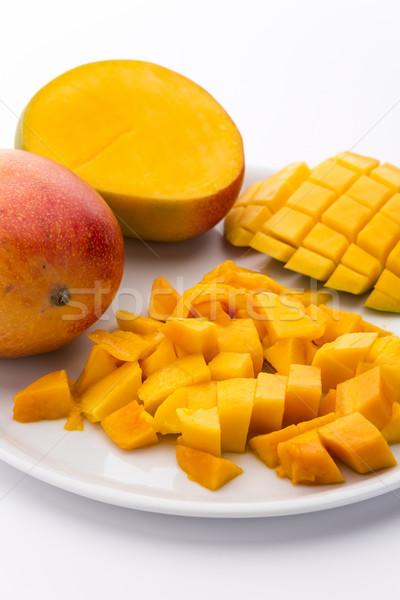 Loose Cubes Of Mango Fruit Flesh And Scored Pulp Stock photo © leowolfert