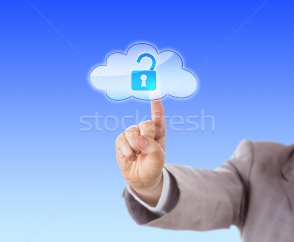 Arm Reaching To Touch Open Lock Icon In Cloud Stock photo © leowolfert