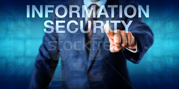Consultant Touching INFORMATION SECURITY Onscreen Stock photo © leowolfert