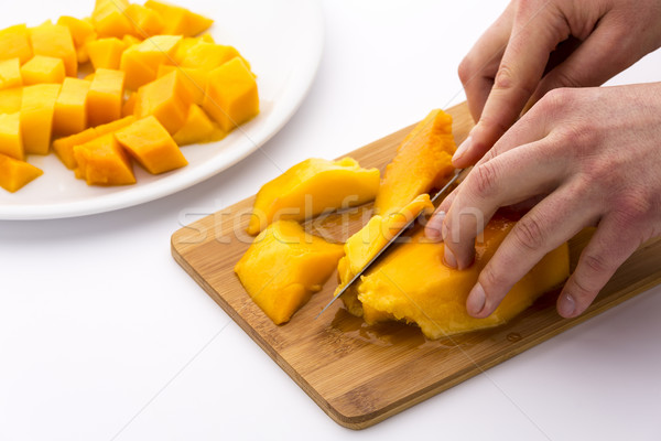 Cutting Juicy Fruit Pulp Around A Mango Pit Stock photo © leowolfert