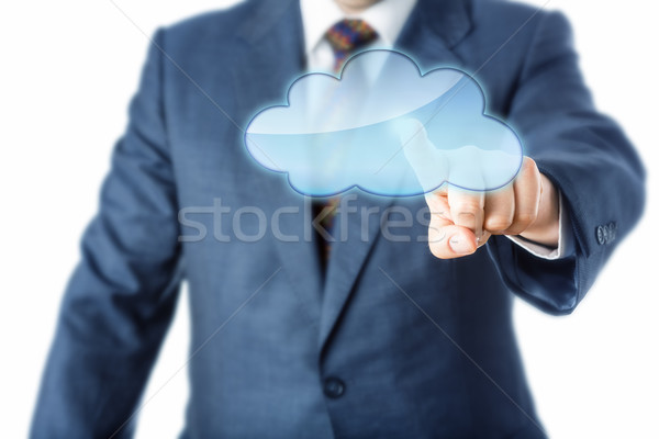 Torso Of Business Person Touching Blank Cloud Icon Stock photo © leowolfert