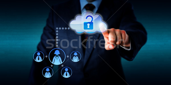 Manager Unlocking Access To A Work Team Via Cloud Stock photo © leowolfert