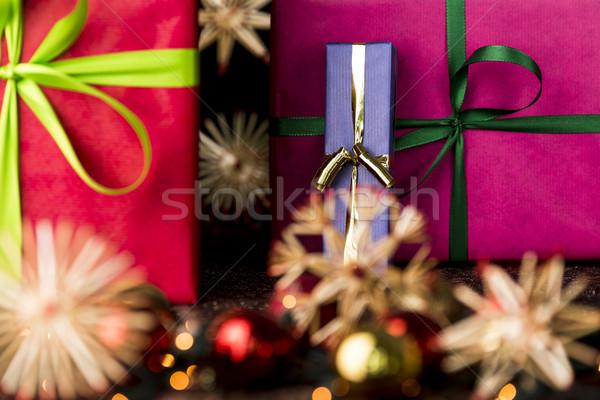 Presents, ribbons, twinkles and stars Stock photo © leowolfert