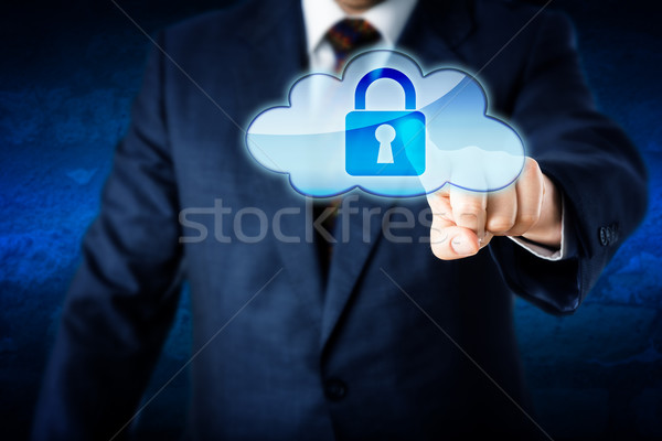 Business Man In Suit Touching Locked Cloud Icon Stock photo © leowolfert