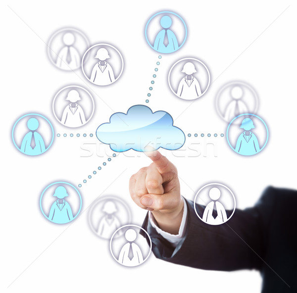 Contacting Female And Male Workers Via The Cloud Stock photo © leowolfert