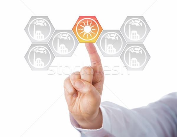 太陽エネルギー センター エネルギー ターン メタファー ボタン ストックフォト © leowolfert
