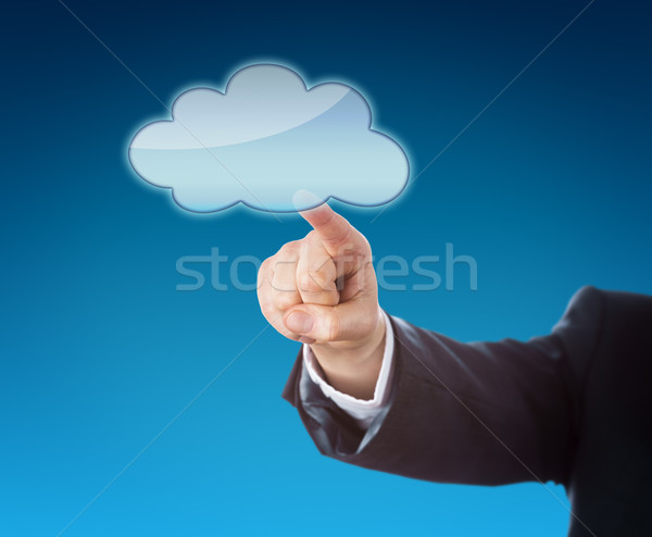 Forearm Pointing At Cloud Icon With Copy Space Stock photo © leowolfert