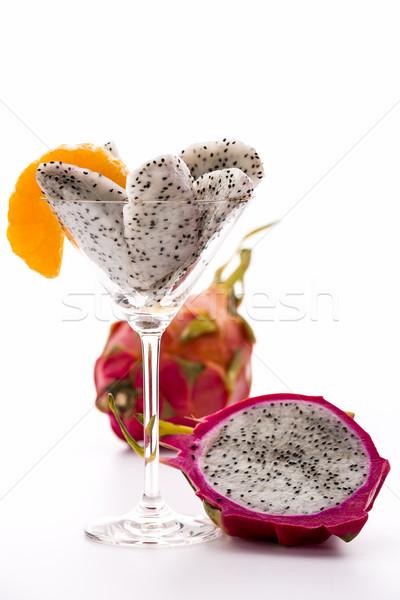 Fruit pulp of the pitaya in a glass Stock photo © leowolfert