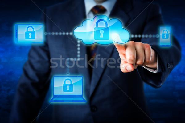 Törzs mobil eszközök felhő hálózat üzletember kék Stock fotó © leowolfert