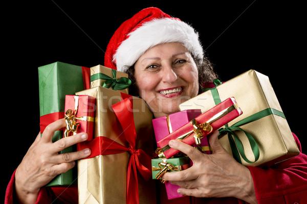 радостный старший женщину восемь подарки Сток-фото © leowolfert