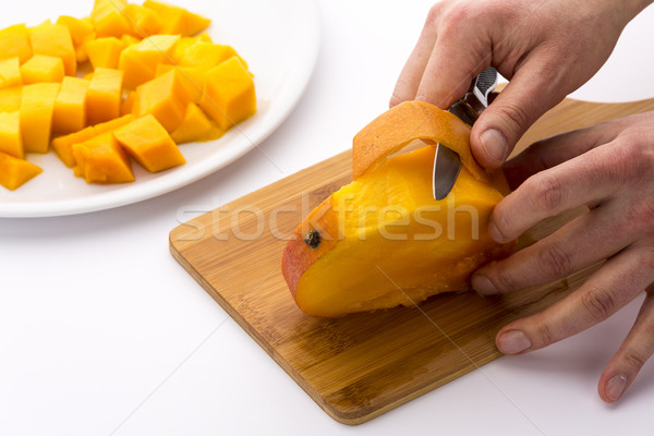 Peeling The Mango Slice Containing The Fruit Pit Stock photo © leowolfert
