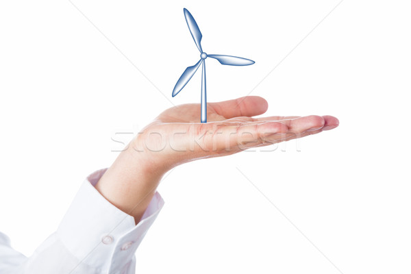 Wind Turbine Rising In The Palm Of A Hand Stock photo © leowolfert