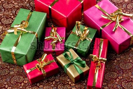 Circular Arrangement of Wrapped Gifts Stock photo © leowolfert