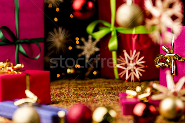 Christmas Background with Baubles, Bows and Boxes Stock photo © leowolfert