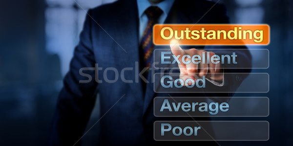 Stock photo: Manager Selecting Outstanding Button