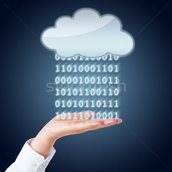 Zeros And Ones Flowing Between Cloud And Hand  Stock photo © leowolfert