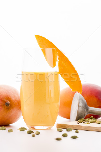 Stockfoto: Glas · mango · smoothie · ingericht · vruchten · plakje