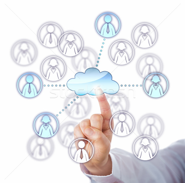 Contacting Four Work Team Members Via The Cloud Stock photo © leowolfert