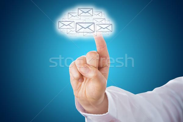 Palec dotknąć ikona Chmura symbol Zdjęcia stock © leowolfert