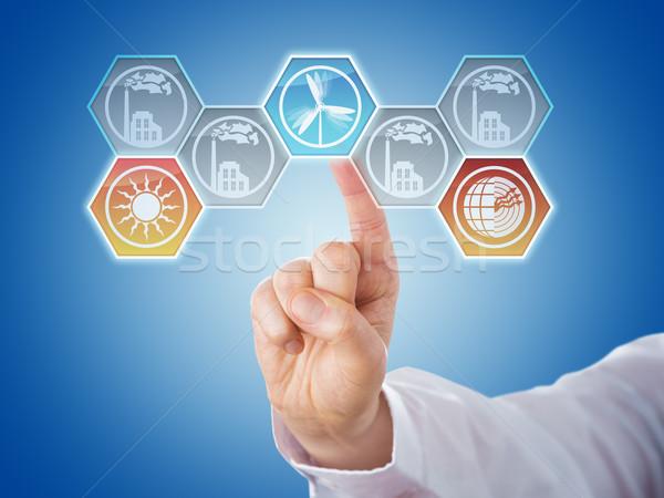 Vinger voortvarend hernieuwbare energie iconen mannelijke wijsvinger Stockfoto © leowolfert
