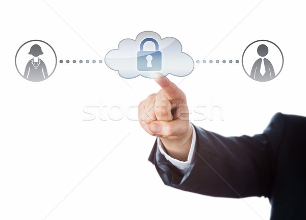 Arm Touching Locked Cloud Linked To Two Workers Stock photo © leowolfert