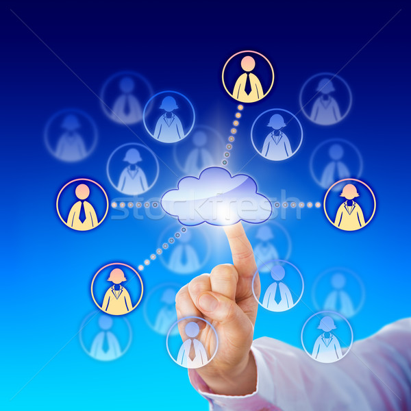 Contacting Female And Male Professionals Via Cloud Stock photo © leowolfert