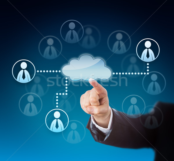 Corporate Arm Activating Human Resources Via Cloud Stock photo © leowolfert