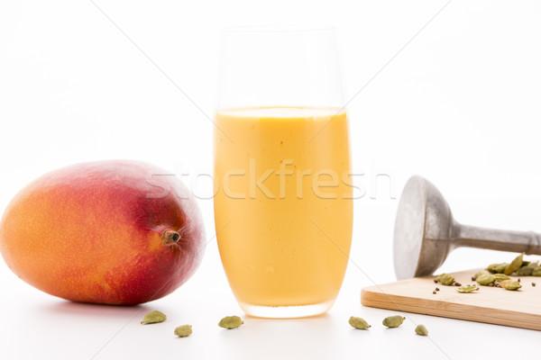 Stockfoto: Een · glas · mango · geheel · vruchten