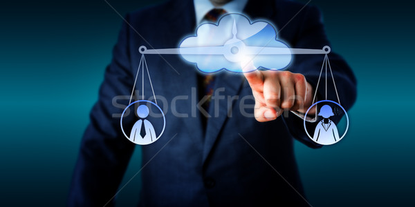 Manager Equating Female And Male Worker Via Cloud Stock photo © leowolfert