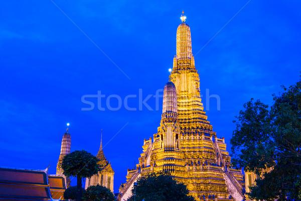 Bangkok gece ufuk çizgisi ibadet mimari Asya Stok fotoğraf © leungchopan