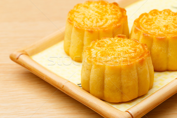 Chinese traditional mooncake on plate Stock photo © leungchopan
