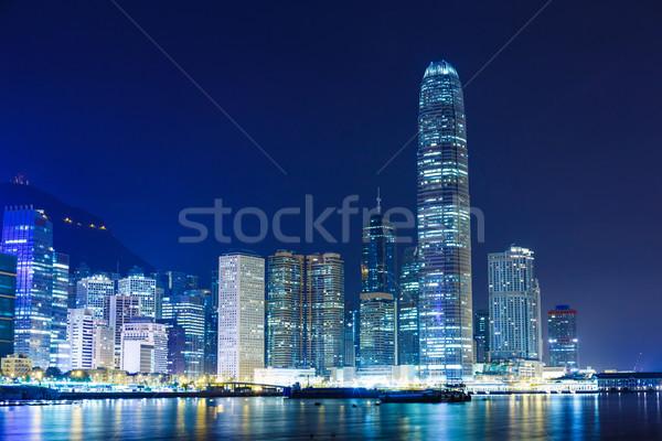 Foto stock: Hong · Kong · noite · da · cidade · negócio · escritório · edifício · cidade
