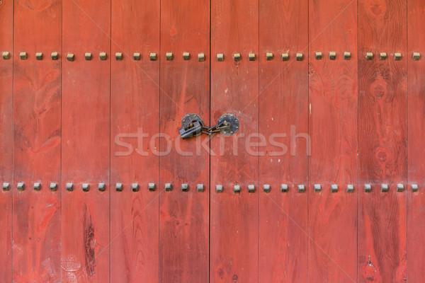 Asian architecture bois entrée design métal Photo stock © leungchopan