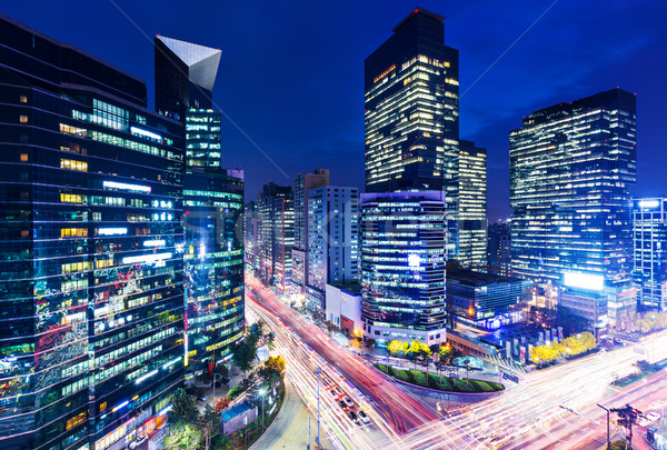 Gangnam district in Seoul at night  Stock photo © leungchopan