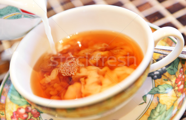 Pouring milk from jug into cup of tea Stock photo © leungchopan