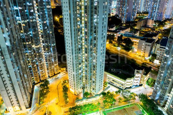 Hongkong társasház épület város tájkép városi Stock fotó © leungchopan