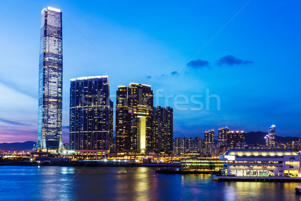 Kowloon skyline in Hong Kong at night Stock photo © leungchopan
